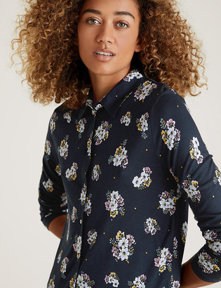 Marks and Spencer Jersey Collared Floral Shirt