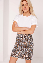 Missguided Jacquard A Line Leopard Mini Skirt Multi