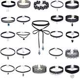 MingJun Lace Tattoo Choker Necklace Set Gothic Elastic Velvet Necklace for Women ( 23 PCS,Black)
