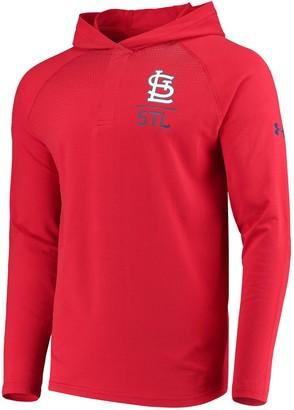 Men's Under Armour Red St. Louis Cardinals Henley Performance Raglan Tri-Blend Pullover Hoodie
