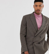 Asos DESIGN Tall boxy double breasted suit jacket in green and pink houndstooth