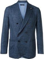Lardini double-breasted woven blazer - men - Cotton/Linen/Flax/Nylon/Cupro - 50