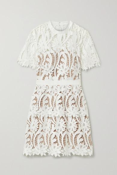 Self-Portrait Grosgrain-trimmed Guipure Lace Mini Dress - White