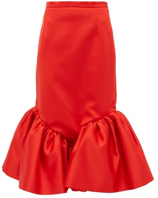 Christopher Kane Cupcake Ruffled-hem Silk-satin Skirt - Womens - Red