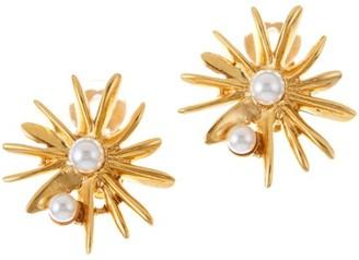 Oscar de la Renta Classic Swarovski Crystal Pearl Starburst Earrings