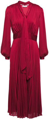 Equipment Macin Tie-neck Pleated Washed-satin Midi Dress
