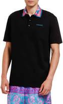 Versace Men's Scarf-Collar Logo Polo Shirt