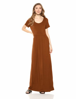 Daily Ritual Jersey Short-Sleeve Empire-Waist Maxi Dress Casual