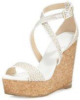 Jimmy Choo Portia Woven Crisscross Wedge Sandal, White/Marble