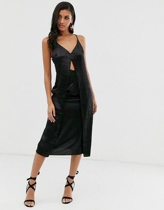 Asos Design DESIGN cami midi slip dress with cut out with high shine satin-Black