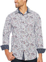 Claiborne Long Sleeve Geometric Button-Front Shirt