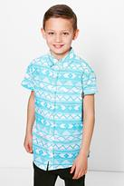 boohoo Boys Aztec Printed Shirt blue