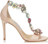 Jimmy Choo REIGN 100 Dusty Rose Satin Sandals with Camellia Mix Anklet
