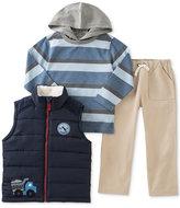 Kids Headquarters Kid Headquarters Little Boys' 3-Pc. Puffer Vest, Striped Hoodie & Pants Set