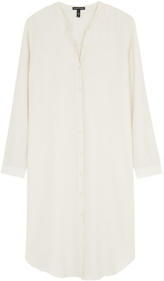 Eileen Fisher Ivory Silk Crepe De Chine Shirt