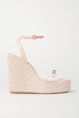 Sophia Webster Dina Leather And Crystal-embellished Pvc Espadrille Wedge Sandals - Neutral