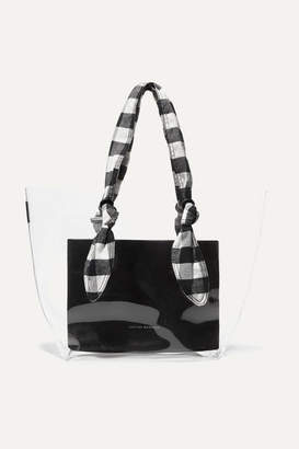 Loeffler Randall Lydia Pvc, Leather And Gingham Canvas Tote - Black