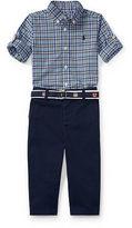 Ralph Lauren Boy Plaid Shirt, Belt & Pant Set