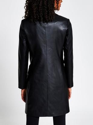 River Island Longline Pu Fitted Blazer Coat - Black