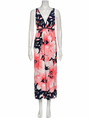 Oscar de la Renta Floral Print Long Dress Pink