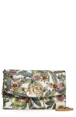 Dolce & Gabbana Chestnut Print Crystal Embellished Leather Crossbody Bag