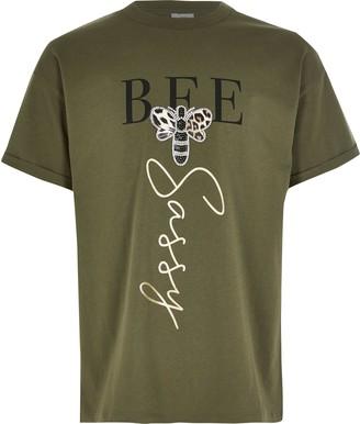 River Island Girls Khaki 'bee sassy' embellished T-shirt