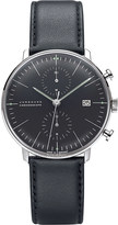 Junghans 027/4601.00 max bill chronoscope stainless steel and leather watch