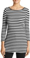 Three Dots Ribbed Donegal Stripe Top