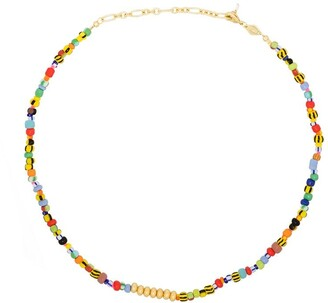 Anni Lu 18kt gold-plated Alaia beaded necklace