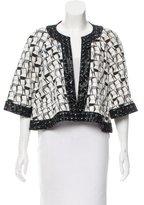 Chanel Vegan Leather-Trimmed Geometric Jacquard Jacket