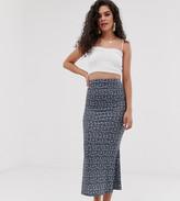 Asos Tall DESIGN Tall jersey midi slip skirt in grunge floral print