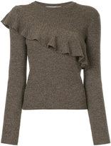 Le Ciel Bleu frill-trim knitted sweater