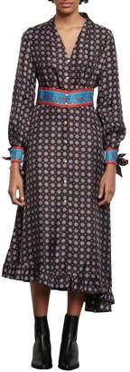 Sandro Catlyn Printed Silk Midi Dress