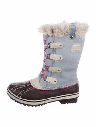 Sorel Suede Colorblock Pattern Lace-Up Boots Blue