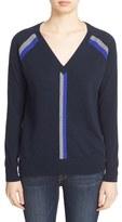Autumn Cashmere Stripe V-Neck Cashmere Sweater