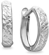 Macy's 10k White Gold Earrings, Diamond Cut Hinged Hoop Earrings