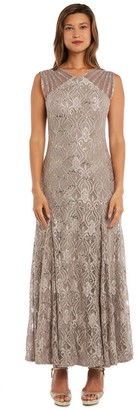 R & M Richards R&M Richards Sequined Lace Gown with Sheer Inserts