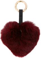 Yves Salomon faux fur heart keyring