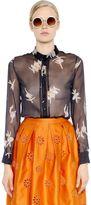 Rochas Ballerina Print Sheer Silk Chiffon Shirt