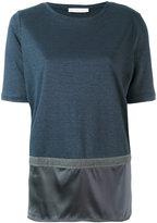 Fabiana Filippi panelled T-shirt - women - Silk/Cotton/Linen/Flax/Spandex/Elastane - 42