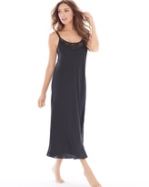 Soma Intimates Satin and Lace Tea Length Nightgown Black
