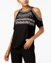 INC International Concepts Embroidered Cold-Shoulder Top, Created for Macy's