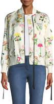 No.21 No. 21 Floral-Print Satin Bomber Jacket
