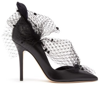 Andrea Mondin - Gloria Feather, Mesh And Leather D'orsay Pumps - Womens - Black