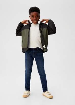 MANGO Bicolour water-repellent jacket khaki - 5 - Kids