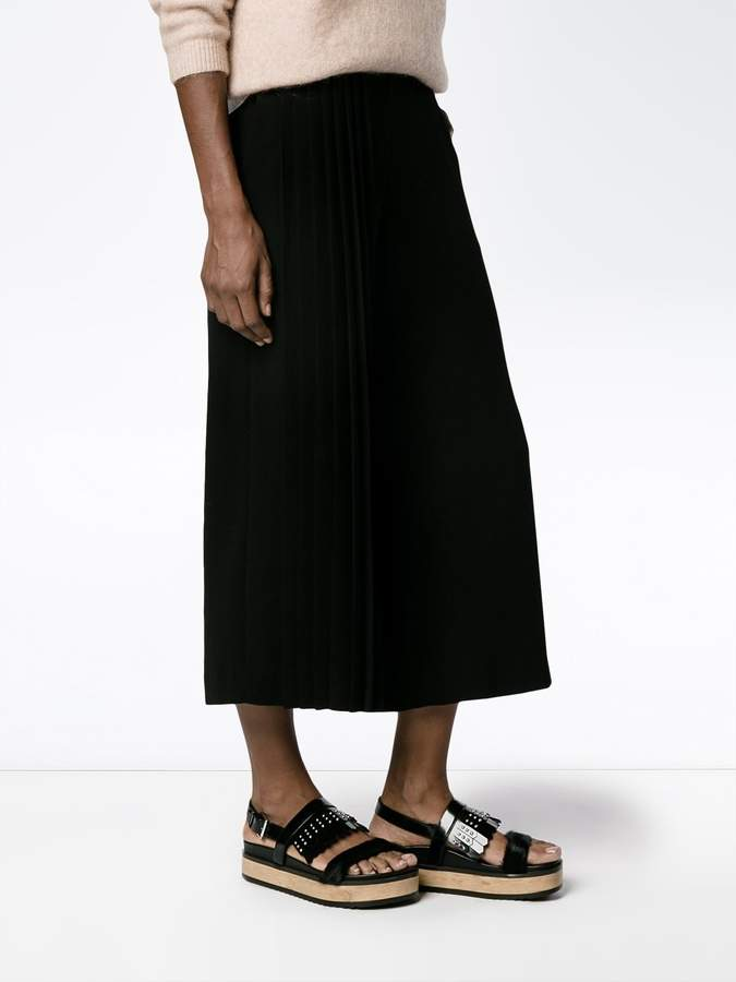 Osman wide-legged pleated cropped trousers