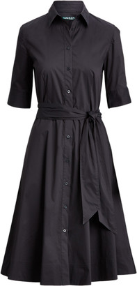 Ralph Lauren Belted Cotton-Blend Shirtdress