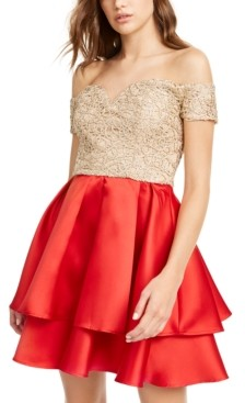 B. Darlin Juniors' Off-The-Shoulder Embroidered & Satin Dress