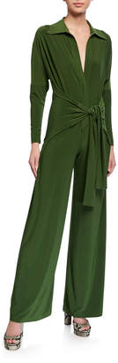 Norma Kamali Long-Sleeve Tie-Front Wide-Leg Shirt Jumpsuit
