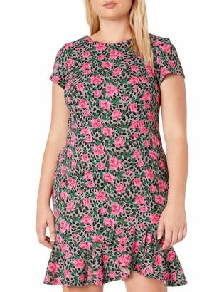 Betsey Johnson Women's Plus Size Printed Scuba Crepe Dress with Ruffled Hem